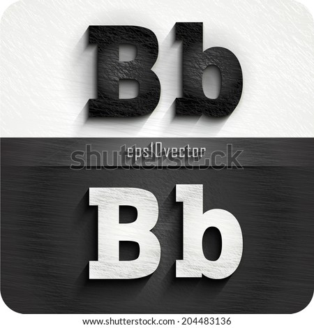 """stylish black, white  squared shabby alphabet letters. Uppercase letter """"B"""" and Lowercase  letter """"b"""". eps10. The rest of letters, symbols and numbers of the alphabet in my portfolio. - stock vector"""