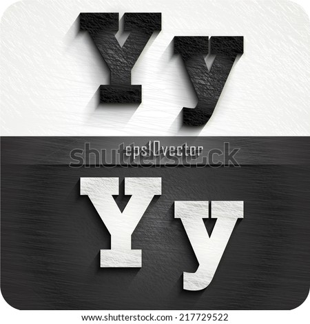 """stylish black, white squared shabby alphabet letters. Uppercase letter """"Y"""" and Lowercase letter """"y"""". eps10. The rest of uppercase and lowercase letters and numbers of the alphabet in my portfolio. - stock vector"""