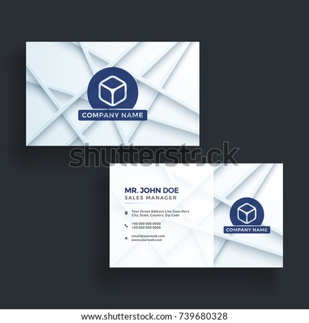 Stylish blue horizontal business card front stock vector 739680328 stylish blue horizontal business card with front and back presentation colourmoves