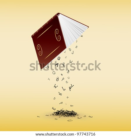 stylish book with falling letters - stock vector