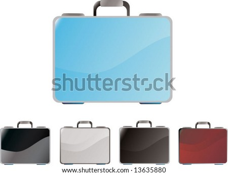 stylish briefcase variations - stock vector