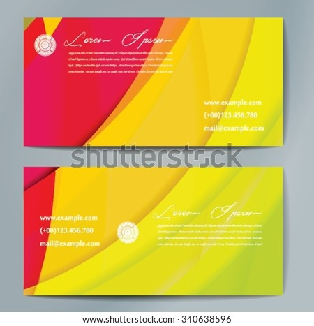 Stylish business cards with colorful wavy stripes. Vector illustration. 5 x 9 cm size. - stock vector