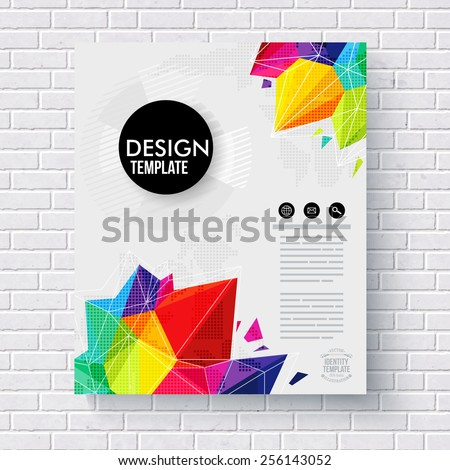 Stylish business design template with colorful crystals or points of geometric triangles in the corners surrounding editable text space with dimensional shadow on a brick wall - stock vector