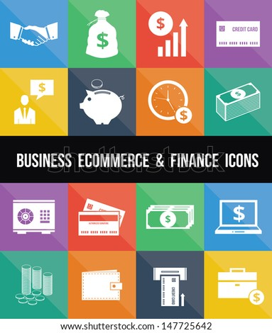 Stylish Business Ecommerce Banking and Finance Money Icons Set - stock vector