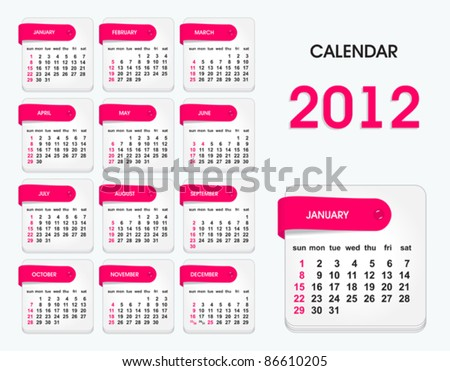 stylish calendar for 2012, all elements are in separate layers and grouped, easy to edit - stock vector