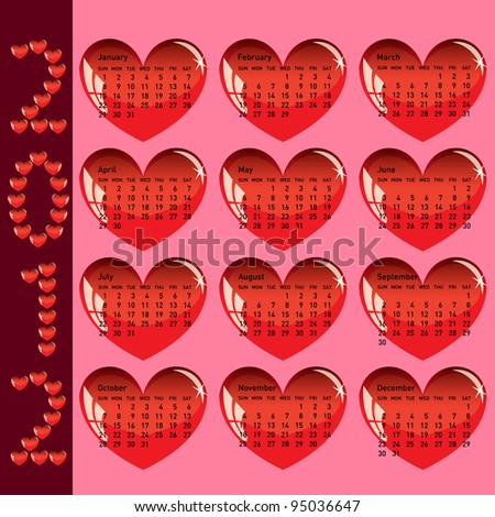 Stylish calendar with red hearts for 2012. Sundays first. Rasterized version also available in portfolio. - stock vector