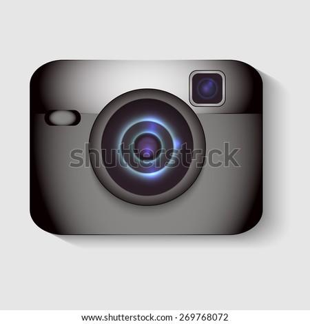 Stylish camera realistic vector illustration - stock vector