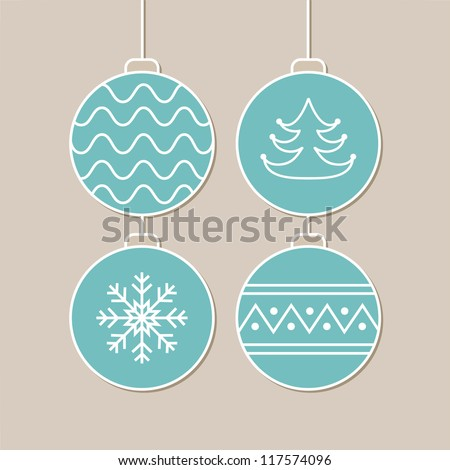 Stylish card with blue christmas balls. Vector illustration - stock vector