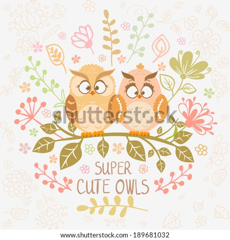 Stylish card with cartoon beautiful and funny owls sitting on a branch. Vector illustration - stock vector