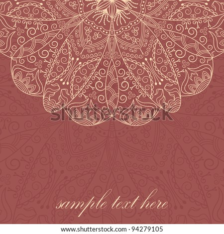Stylish Card With Vintage Lace Pattern - stock vector