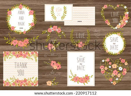 Stylish cards collection with floral bouquets and wreath design elements. Perfect for save the date, baby shower, mothers day, valentines day, birthday cards, invitations. Vector illustration set - stock vector