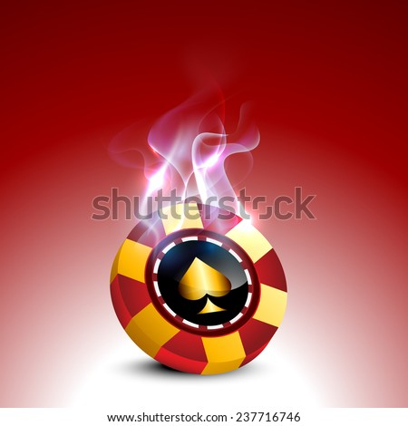 Stylish casino chip with fire flames on red background. - stock vector
