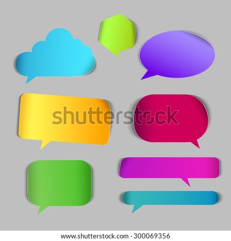 Stylish chat call out box border page curl vector web element icon set. Different style of conversation colorful internet design elements. - stock vector
