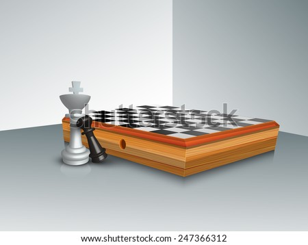 Stylish chess board with figures of king and pawn on grey background. - stock vector