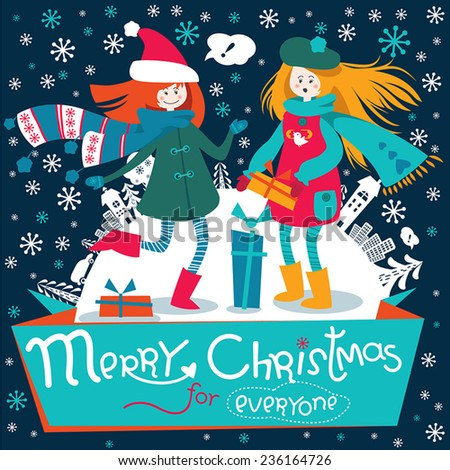 Stylish Christmas and New Year greeting card in vector with cheerful text. Happy smiling teen girls jumping and dancing with gifts against the background of snowy city, trees and cars. - stock vector