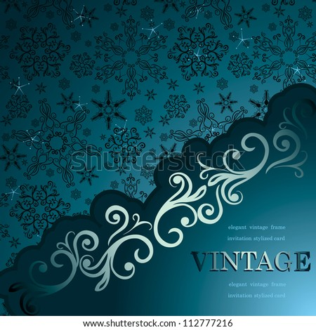 Stylish christmas card, Vintage frame on wallpaper with hand-drawn snowflakes - stock vector