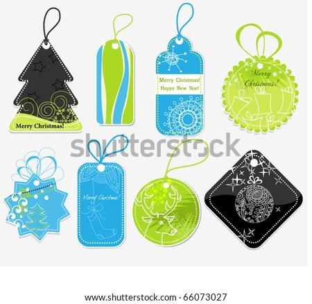 Stylish Christmas price tags - stock vector