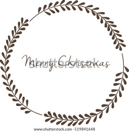 Stylish Christmas Wreath Vector Isolated Card