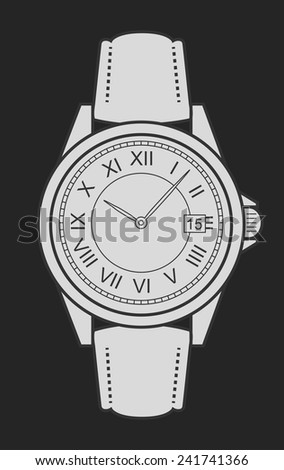 Stylish classic luxury mechanic business style elegant hand watches with roman numerals. Chalk clip art illustration isolated on blackboard - stock vector