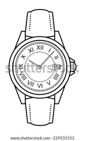 Stylish classic luxury mechanic business style elegant hand watches with roman numerals. Leather belt. Clip art. Contour lines illustration isolated on white - stock vector
