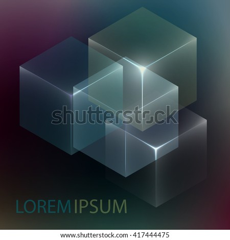 stylish colorful background 3 d glowing cubes stock vector 417444475