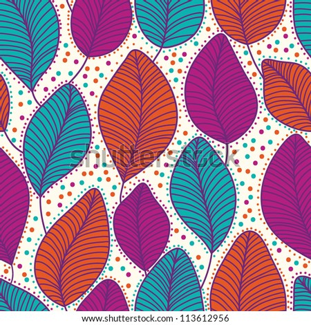 Stylish colorful floral spring autumn fall vector pattern with leaves