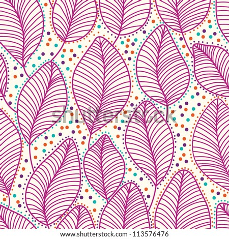 Stylish colorful floral vector pattern with leaves