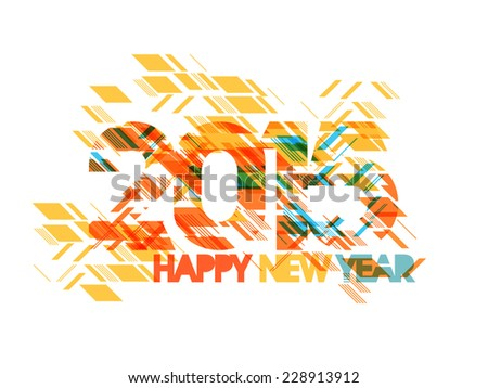 Stylish colorful text on creative background for Happy New Year 2015 celebrations, can be used as greeting or invitation card. - stock vector