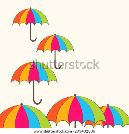 Stylish colourful umbrellas on abstract background for monsoon season.