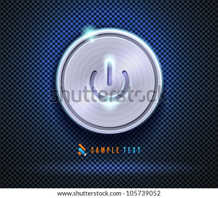 Stylish computer power button on textured background - stock vector