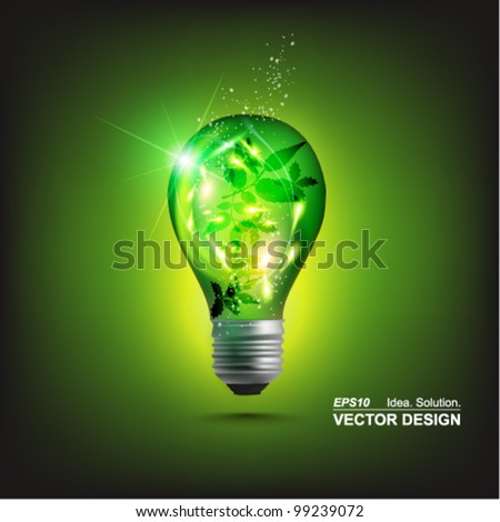 stylish conceptual digital light bulb design - stock vector