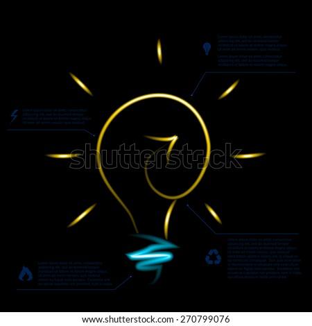 Stylish conceptual neon digital light bulb idea design. Vector - stock vector