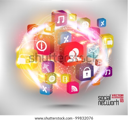 stylish conceptual social networking graphic design - stock vector