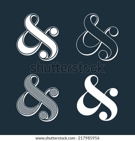Stylish custom ampersands on black. Vector illustration - stock vector