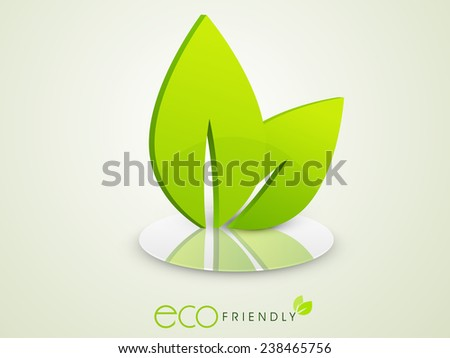 Stylish 3D leaves on stage for Save Ecology concept on shiny green background. - stock vector