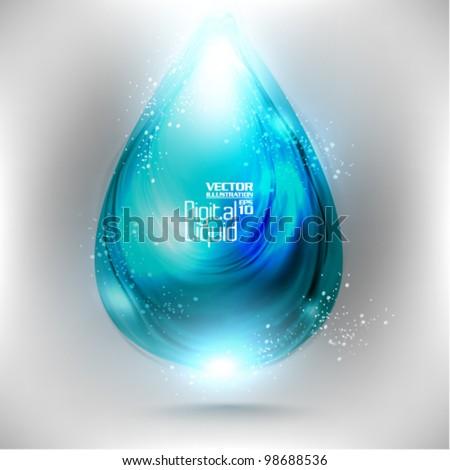 stylish digital neon droplet design - stock vector