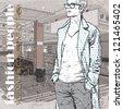 Stylish dude at subway station.  Vector illustration - stock vector