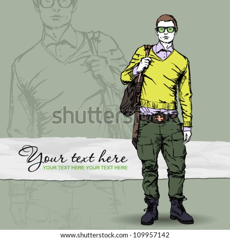 Stylish dude with bag  on a grunge background. Vector illustration. - stock vector