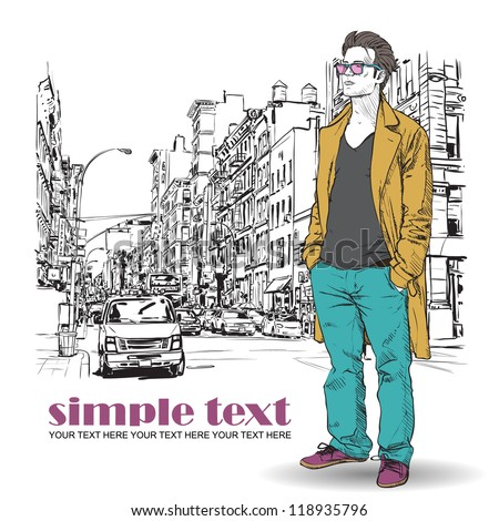Stylish dude with bag  on a street-background. Vector illustration. - stock vector