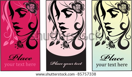 Stylish face of woman with long hair. Template design card - stock vector