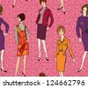 Stylish fashion dressed girls (1950's 1960's style) seamless background: Retro fashion party. vintage fashion silhouettes from 60s. - stock vector