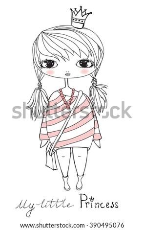 Stylish fashion girl princess.  Childish vector card - stock vector