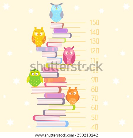 Stylish flat beautiful and funny owls sitting on the pile of books - stock vector