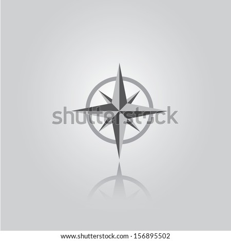 stylish flat design Compass vector Icon with reflection on grey abstract background. navigation and traveling sign. travel icon - stock vector