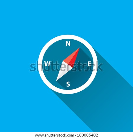 stylish flat design white Compass vector Icon with long shadow on blue abstract background. navigation and traveling sign. travel icon - stock vector