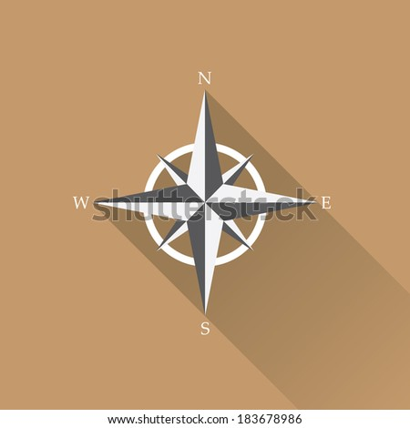 stylish flat design white Compass vector Icon with long shadow on brown abstract background. navigation and traveling sign. travel icon - stock vector