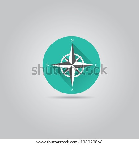 stylish flat design white Compass vector Icon with long shadow on stylish turquoise background. navigation and traveling sign. travel icon - stock vector