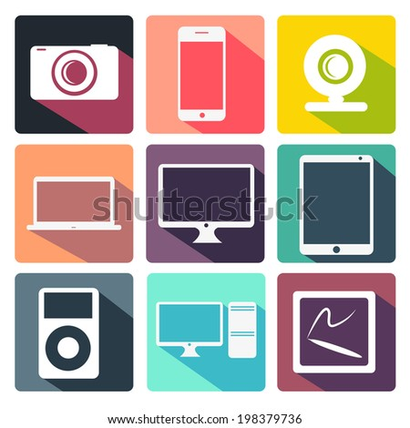 stylish flat vector icons for internet and mobile applications - stock vector