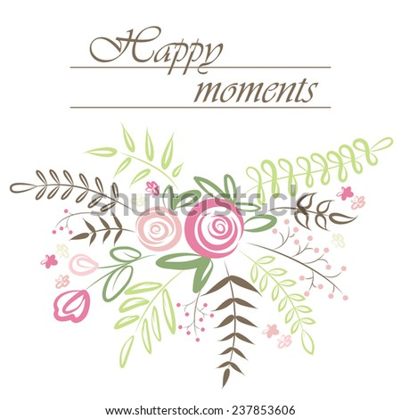 Stylish floral background. Nature vector card with flowers bouquet. Set of flowered elements. Vector illustration. - stock vector
