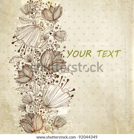 Stylish floral background, retro flowers - stock vector